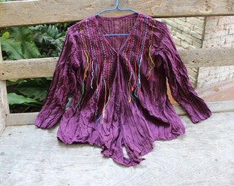 M-L Comfy Cotton Blouse II - Dark Purple