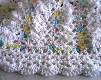 Beautiful soft white baby afghan blanket hand crochet by kams-store