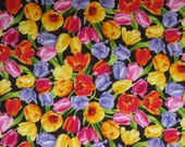 Bright and Colorful Tulips On Black Print Pure Cotton Fabric--By the Yard