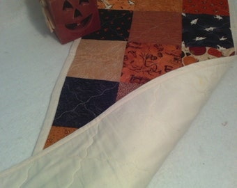 "FALL SALE:   Halloween Reversible Machine Quilted Table Runner (32"" by 13.5"") with Fall Colors, Ghosts, Pumpkins and Witches"