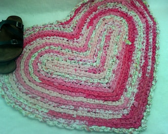"Hand Crocheted Rag Rug in Pinks ~ 32"" x  26"" ~ Shades of Pink and White ~ Country rag rug ~  Heirloom rug ~ Shabby cottage rug ~ Primitive"