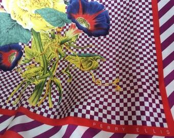 Perry Ellis Scarf Silk Floral made in Japan