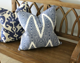 Free shipping, Chevron Pillow Cover, Designer, Decorative, Square 20 inch, 20x20, Blue and White
