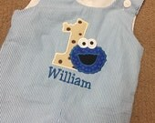 Boys Cookie Monster birthday longall or shortall