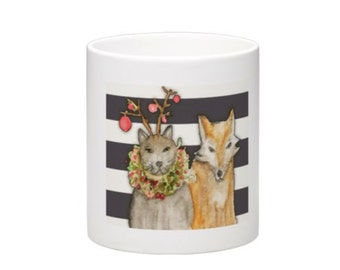Mug - Cat and Fox - Christmas - Holiday with Stripes
