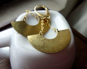 Raw Brass Crescent Moon Earrings, Half Moon, Minimalist, Drop Earrings, Dangles, Laser Cut, Geometric