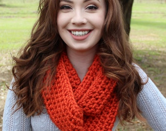 Chunky Crocheted Bright Orange Infinity Scarf