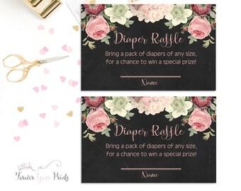 Floral Diaper Raffle Card - Baby Shower Diaper Raffle - Baby Shower Insert Cards - Floral Baby Shower - Baby Shower Game - Boho Baby Shower
