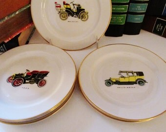 Pickard Vintage Automobile Plates, Daimler, Wolseley, Rolls-Royce, Austin, Morris, And Ford Vintage Cars, Set of Six