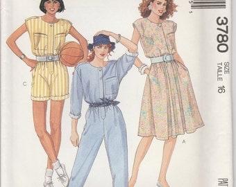 Jumpsuit Pattern 1980s Dress Shorts Misses Size 16 uncut McCalls 3780