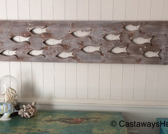 Wood School of Fish Art Sign Panel Horizontal Large Sea Glass or Driftwood Colours Beach Lake House Decor Cabin Cottage by CastawaysHall