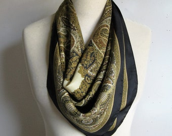 Vintage 80s Liberty Silk Scarf 1980 Olive Black Paisley Silk Square Liberty of London Scarf Foulard de Soie