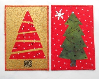 Pair of Quilted Art Postcards -- Christmas Trees