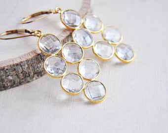 Quartz Earrings, Gold Quartz Earrings, Clear Quartz Earrings, Circle Earrings, Drop Earrings, Boho Earrings, Everyday Earrings, Festival