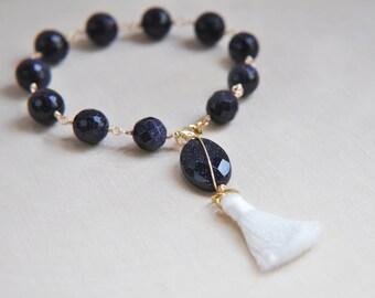 Blue Goldstone Bracelet, Blue Sandstone Bracelet, Blue Bracelet, Tassel Bracelet, Beaded Bracelet, Stacking Bracelet, Boho Bracelet
