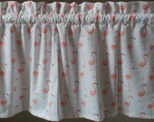 1 Flamingo coral peach bird window valances curtains white spring beach