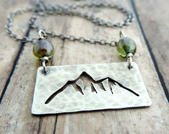 Sterling Silver Mountain Necklace - Mountain Range Necklace - Hiker Gift - Nature Jewelry - Outdoor Jewelry - Mountain Jewelry - Cut Out