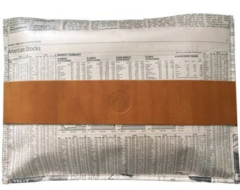 TIMES real newspaper bag with light brown leather detail, recycled material clutch with zip
