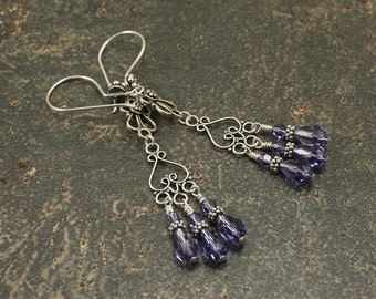 Purple Chandelier Earrings Tanzanite Crystals Sterling Silver Chandelier Earrings Colorful Bohemian Jewelry Unique Hippie Chic Dangles