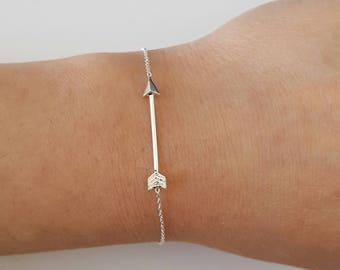Sterling Silver Arrow Bracelet, Birthday Gift, Bridesmaid Gift, Mother's Day Gift, Children's Jewelry