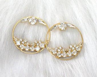 Hoop Earrings, Bridal Hoop Earrings, Swarovski White Crystal Bridal Earrings, Swarovski Bridal Earrings, Statement Gold Earrings, Big Hoops