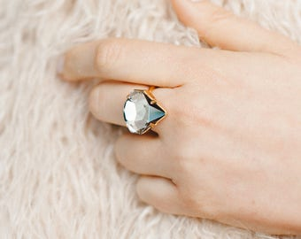 Cocktail Ring, Statement Crystal Ring, Crystal Gold Ring, Crystal Big Ring, Statement Ring, Bridal Crystal Ring, Bridal Ring, Swarovski Ring