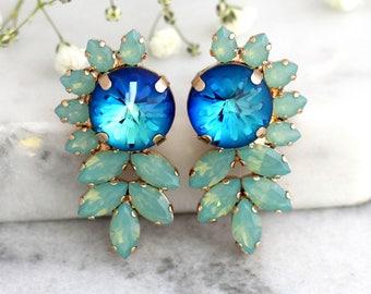 Blue Earrings, Blue Green Earrings, Blue Green Earrings, Bridal Blue Earrings, Swarovski Crystal Earrings, Statement Earrings, Big Studs