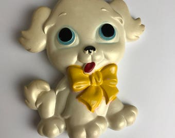 Vintage Cute Ceramic Puppy 80's Wall Hanging