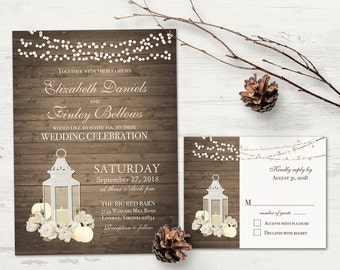 Fall Wedding Invitations Rustic Lantern Wedding Invitation Set Printable + RSVP Card Blush Floral White Pumpkins String Light wood Template