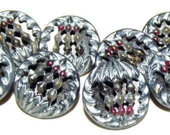Antique Buttons ~ Metal Button Set Lovely Twinkle Back Tinted Embellishment