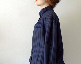 ON SALE 1980s striped wool jacket / vintage new wave coat