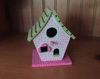 Upcycled Dot Painting Small Birdhouse Pink and Green - Dot Dot Dash by TangoBrat