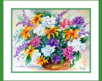16x20 Watercolor Flower Spring Bouquet Basket by Martha Kisling