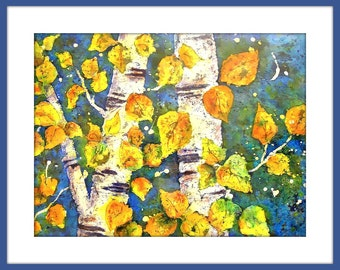 Watercolor Batik Aspen Trees, Birch Tree Watercolor, Batik Art, Watercolor Batik, Gold Leaves, Martha Kisling