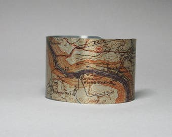 Cuff Bracelet Fayetteville West Virginia Nuttallburg Fayette New River Gorge Vintage Hiking Map Endless Wall Trail Gift for Men or Women