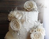 Ready to Ship ~~~ Ivory Sola Flower Cake Topper Picks, Set of 4, embellished with pearls and rhinestones.
