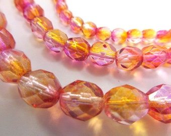 Fuchsia Cantaloupe Czech glass fire polished 4mm, 6mm or 8mm faceted jewelry beads