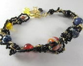 Custom for Jackie Only - Solar System Bracelet with Semiprecious Stones, Black Seed Beads on 14k GF