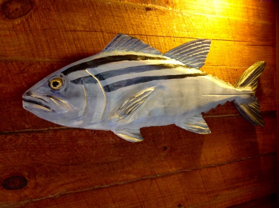 Bonito chainsaw wood carving hand painted fish by