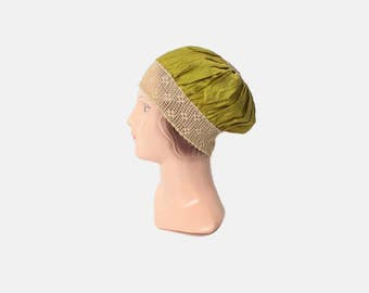 Vintage 20s BOUDOIR CAP / 1920s Chartreuse Silk & Crochet Night Sleeping Bonnet Hat