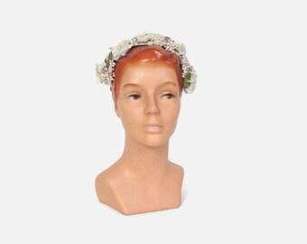 Vintage 50s FLORAL Hat / 1950s Millinery Flower Pastel Pink Velvet Ribbon Headband
