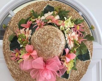 Hat door wreath, outdoor door wreath, door hanging, summer wreath, floral hat wreath, front door wreath, floral hat, door decoration