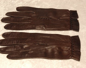 Vintage Brown Leather Gloves Size Small Superb