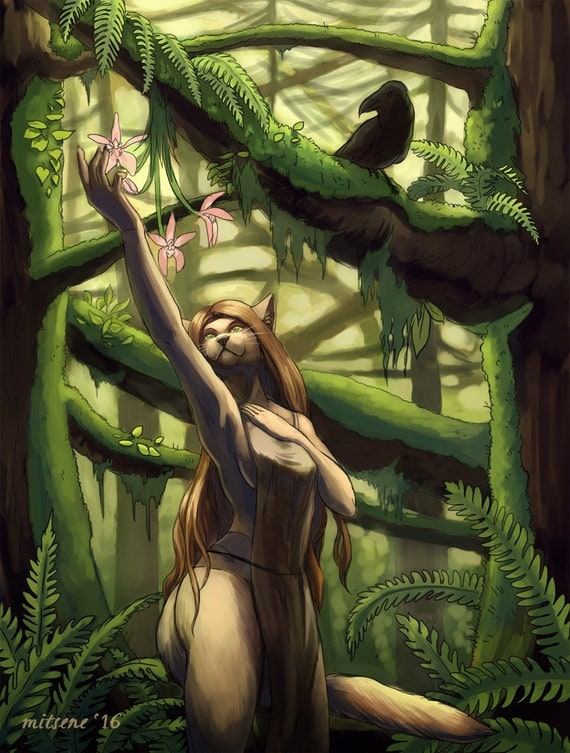 Forest Green Furry Anthro Cat Girl Digital Art Digital-7473