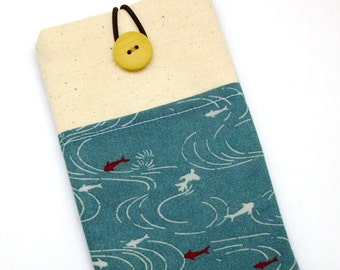 6P iPhone 6 plus sleeve, iPhone pouch, Samsung Galaxy S3, S4, Galaxy note, nexus, ipod classic touch sleeve - Fish in the pool
