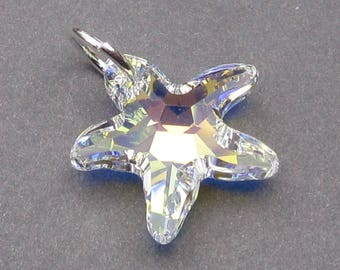 Large Starfish Charm, Swarovski Crystal Charm, Clear AB Starfish Necklace Pendant, Interchangeable Earrings