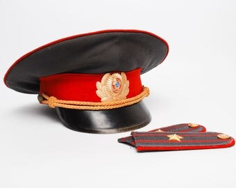 Sale off 20% vintage Russian soviet military police uniform hat, Militia hat and officer uniform strap, major, from Soviet Union, USSR.