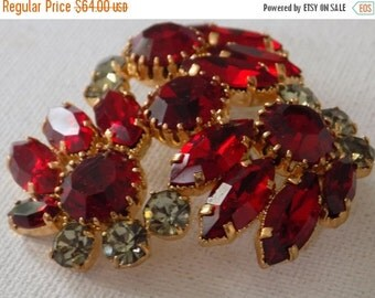 ON SALE Vintage brooch, Delizza & Elster Juliana brooch, red and smokey grey crystal brooch, haute couture, retro jewelry