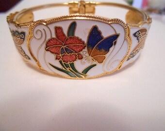 Vintage bracelet, enamel bracelet, guilloche enamel bracelet, clamper bracelet, vintage jewelry