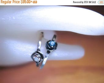MothersDaySale Petite Rose Ring Genuine Diamond Blue/ Champagne sterling silver 14k yellow white gold handmade fine jewelry size 4 4.5 5 5.5